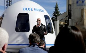Blue origin picture connected to article on OneWeb bankruptcy