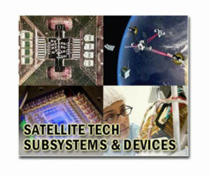 Multipal pictures of satellite tech and subsystems emphasizing adaptability