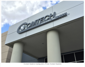 Comtech logo image in building connected to article on Comtech and Gilat Terminate Merger