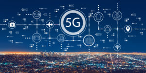 5G network graphic over skyline