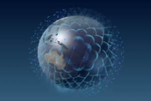 OneWeb graphic of Earth surrounded by constellation