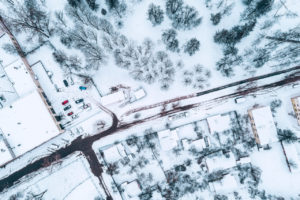 Drone created image as example of EO of snowy area